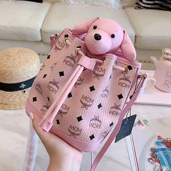 MCM High Quality Fashion Women Cute Rabbit Bag Pendant Shoulder Bag Crossbody Satchel Pink
