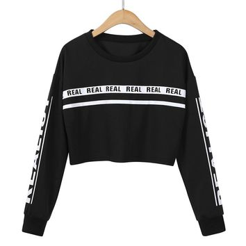 Big Discount ! 2017 KLV Women Fashion White Letter Print Crop Sweatshirt Top Blouse#25
