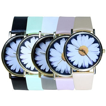 Vintage Style Women's Student's Daisy Wrist Watch Quartz Analog Faux Leather Flower Pattern  GIL = 1932666180