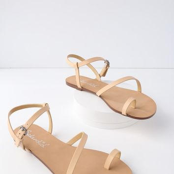 Flower Sand Leather Flat Sandals