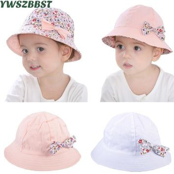 Summer Baby Girls Sun Hat Bowknot Flower Print Cotton Baby Hat Kids Child Cap Bucket Hat Double Sided Can Wear Photography Props