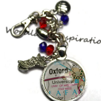 Ole Miss Colonel Reb University of Mississippi purse charm, map of Oxford, MS glass pendant with Colonel Reb, zipper charm