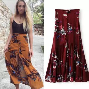 """Free People"" Fashion Sexy Retro Flower Print Ruffle Buttons Irregular Skirt"
