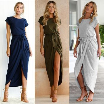 Asymmetrical Short Sleeve High Slit Solid Maxi Dress