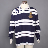 90s POLO Ralph Lauren RUGBY SHIRT / 1990s Long Sleeve Stripe Crest Shirt