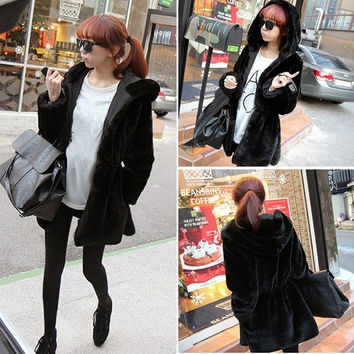 Faux Fur Women Hooded Double-Wear Side Long Jacket Winter Warm Cotton Coats (Color: Black) = 1667553348