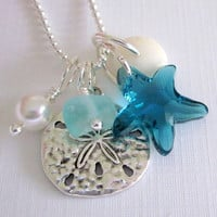 Sea Glass Necklace Summer Beach Love by GardenLeafDesign on Etsy