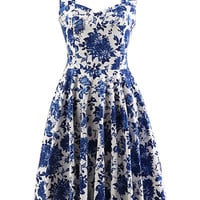 Blue Floral Sleeveless Halter Sweatheart Neck Sheath A-Line Pleated Mini Dress