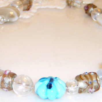 Blue & Clear Glass Beads with Gold Accents. Choker Style Necklace. Aqua. Turquoise. Light Blue. Gold. Lampwork Glass. Jewelry Sale.