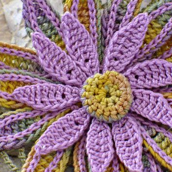 Crochet Brooch Irish Crochet Pin Daisy Sage by Nothingbutstring