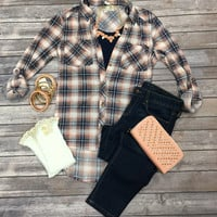 What I like about you Plaid Flannel Top: Peach2