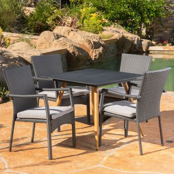 Bishop Outdoor 5 Piece Gray Wicker Dining Set with Tempered Glass Table