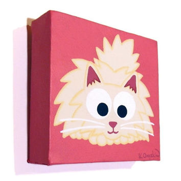 Fluffy White Cat Art - small acrylic painting of a cute longhaired cat on a bright pink background