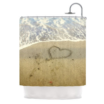 "Debbra Obertanec ""Beach Heart"" Sand Coastal Shower Curtain"
