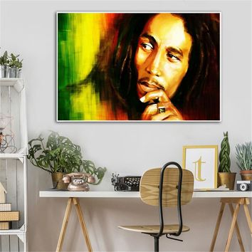 Poster Wall Bob Marley Art Picture Abstract Painting Musicaian Jamaican Cuadros Decoracion Salon Quotes Marley Portrait Canvas