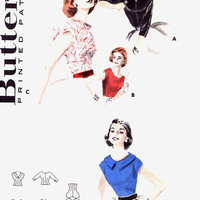 50s summer blouse or top vintage sewing pattern Butterick 7682 mid century 1950s Rockabilly style UNCUT pattern  Bust 36
