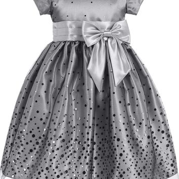 Silver Confetti Tulle & Satin Girls Party Dress 2T-10
