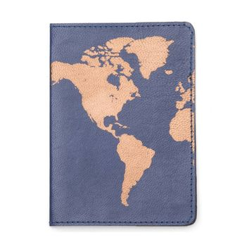 Globetrotter Leather Passport Cover - Blue