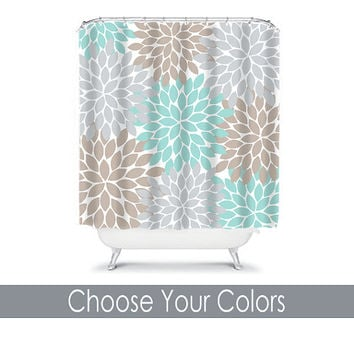 Shower Curtain CUSTOM You Choose Colors Aqua Gray Beige Flower Burst Dahlia Pattern Bathroom Bath Polyester Made in the USA