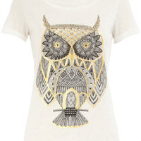 Ivory foil/stud owl print tee - New In Clothing  - What's New  - Dorothy Perkins