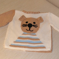 baby cardigan /cat cardigan /soft cotton/ knitting for children / birthday gift/ babyshower /gift idea/organic cotton yarn/children outfit