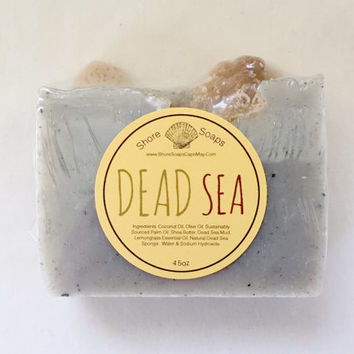 Dead Sea Soap // Vegan Cold Process // Organic Shea Butter / /Dead Sea Mud // Exfoliating Dead Sea Sponge // Lemongrass // Detox // Spa Bar