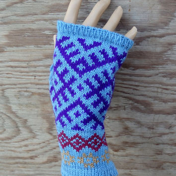 Knit fingerless gloves, knitted patterned arm warmers, blue purple winter gloves, colorful mittens, handmade accessories knitting wool mitts