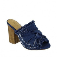 MIA Shoes Denim Block Heels - Gail