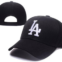 New MLB LA Dodgers Medium Raised Embroidery Letter Adjustable Hats Structured Classic High Crown Baseball Caps XD