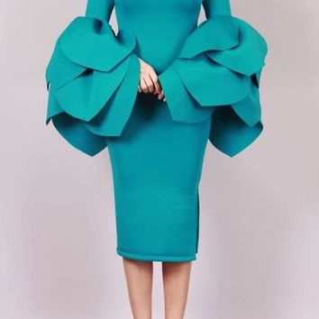 Off Shoulder Petal Sleeve Midi Dress