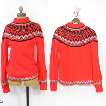 Vintage Red Sweater • 1950s Sweater • Vintage Crew Neck Sweater • Scandinavian Design • Knitted Sweater • Vintage 50s Red Sweater