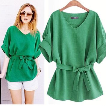 European Ladies Blouse Summer Women Cotton Linen Tunic Shirt V Neck Loose Blouse Female Tops  XL-5XL