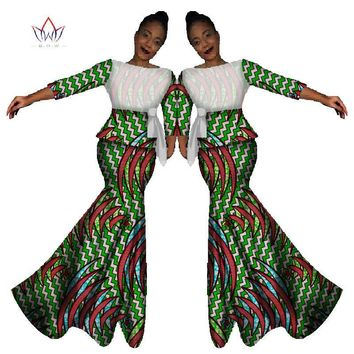 Traditional African Bazin Style Dress Sets