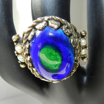 B2SkoolSale--) Emmons Signed Ring Antiqued Metal Victorian Style Colorful Blue Green Glass Faux Pearl Ring Size 7 Vintage Costume Jewelry Ri