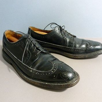 Vintage 50s Florsheim Shoes Black Long Wing Brogues / Black - $52.00 - Vintage Items and Unique Gifts by OneTrickChassis