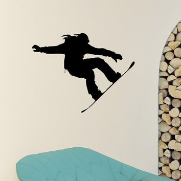 Snowboard Wall Decal Vinyl Sticker Snowboarding Jumping Snow Winter Extreme Sports Wall Decals Murals Winter Gift Kids Room Decor Z869