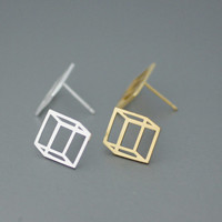 3D Square / Cube Silver studs earrings  - Available color as listed ( Silver, Gold )