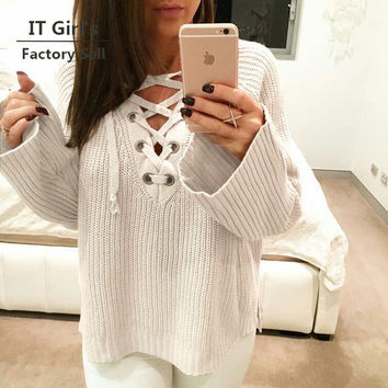 knitted long-sleeved lace up v neck striped split pullover sweater women autumn winter christmas sweater sudaderas pull femme