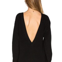 Black Backless Slouchy Long Sleeve Round Neck Fashion Pullover Sweater