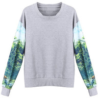 ROMWE | Scenery Print Grey Pullover, The Latest Street Fashion