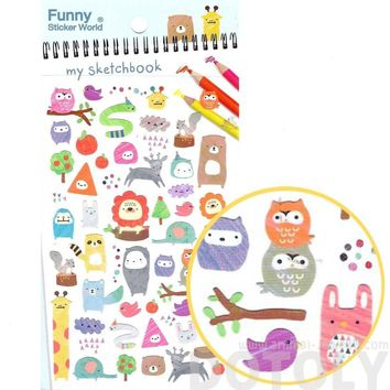 Kawaii Cartoon Owls Bears Elephant Raccoon Giraffe Animal Shaped Stickers for Scrapbooking