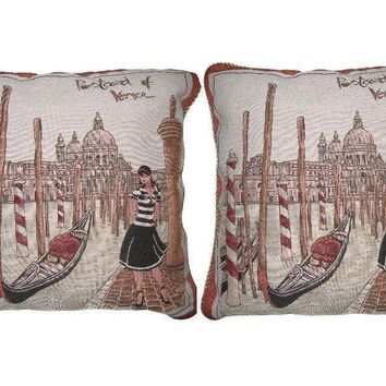 DaDa Bedding Set of Two Postcard of Venice Throw Pillow Covers W/ Inserts - 2-Pcs - 18""