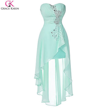 Grace Karin High Low Bridesmaid Dress Turquoise Bridemaid Dresses 2016 Real Photos Strapless Short Front Long Back Formal Gowns