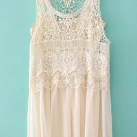 Vintage Crocheted Sleeveless Lace Dress