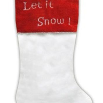 "20"" White Faux Fur ""Let it Snow!"" Christmas Stocking with Red Shadow Velveteen Cuff"