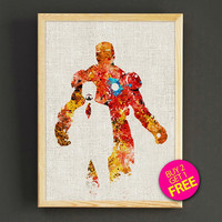 Avengers Iron Man Watercolor Art Print Marvel Superhero Poster House Wear Wall Decor Gift Linen Print - Buy 2 Get 1 FREE- 396s2g