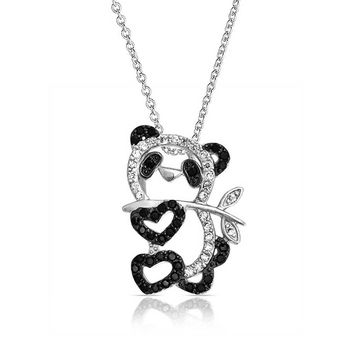 Panda Bear Pave Black White Pendant Necklace For Grills Silver Plated