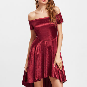 Burgundy Silky Off the Shoulder Party Dress