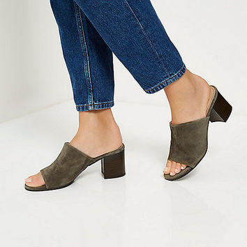 Khaki suede mules - mules - shoes / boots - women