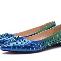 Christian Louboutin Fashion Edgy Gradient Color Rivets  Flats Shoes